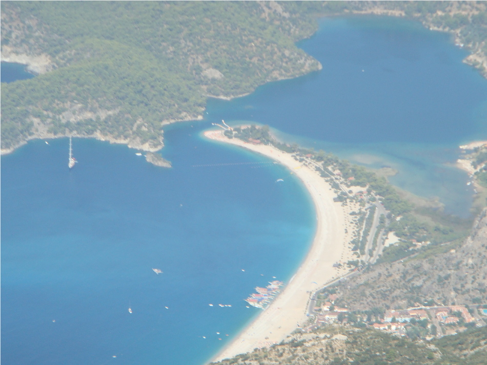 View of Oludeniz Beach from a paraglider
